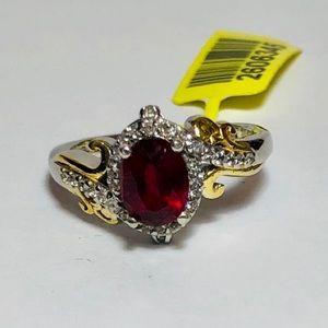 Ruby/White Zircon YG & Platinum Silver Ring Size 7
